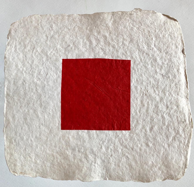 Geschöpftes Papier-Rot-Drucktechnik-20×20-2016